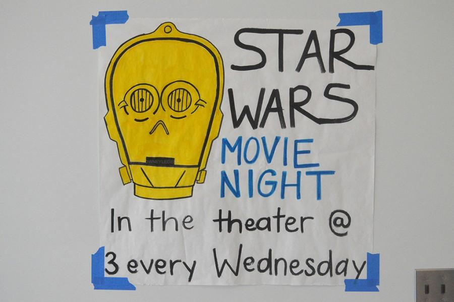 In the A building, the Star Wars series is advertised for all students. Students enjoy watching the movies because they are suspenseful, action-packed, and they have grown up with watching the movies.