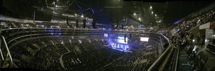 "Inside Staples Center, on December 4, 2015, following the pre-show, the crowd eagerly waits for the performers to begin the Jingle Ball Concert. ""Where I sat behind the stage, I was amazed to see how many people were setting up for just one artist,"" Megan Ramirez said."