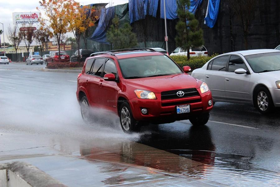 Down Imperial Highway, the streets become flooded with water, making it dangerous to drive around on January 5. Passing cars would create a wave of water while driving.
