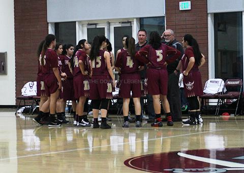 Downey%27s+varsity+girls+basketball+team+huddles+in+between+quarters%2C+keeping+their+advantage+over+the+Paramount+Pirates+during+their+game+on+Feb.+11.+%0A%E2%80%9CI+honestly+don%27t+think+they+were+a+tough+team+to+beat%2C%E2%80%9D+Faith+Trejo%2C+11%2C+said.+%E2%80%9CWe+did+very+good+during+the+first+half+of+the+game%2C+and+that+helped+keep+our+game+well.%E2%80%9D