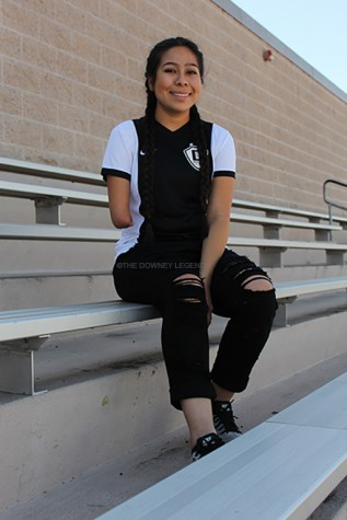 "JV soccer player, Giselle Hernandez, 11, was born without her left arm, but does not let that stop her from doing what she loves best: playing soccer. ""I was born without an arm, so I had to get used to doing things differently,"" Hernandez says. ""It motivates me because I like to challenge myself at times."""