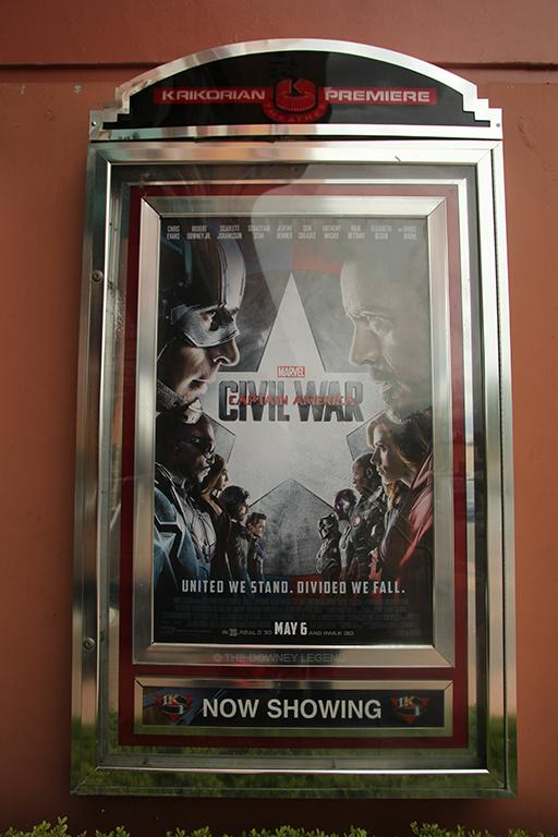 The wait is over and Marvel's Captain America: Civil War has now premiered in Downey's Krikorian Theatres on May 6.  The feud strengthened between Captain America and Iron Man; they assembled teams to fight against each other.