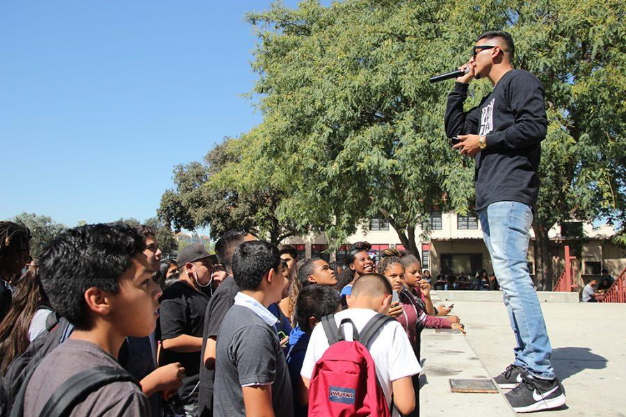"""While the crowd waits for rapper Troy Noka, Power 106 DJ, Jose Jimenez, is the one that keeps the crowd entertain by interacting with the audience. """"I'm the crowd pleaser,"""" Jimenez said. """"I like to get everyone excited for the song that is being played."""""""