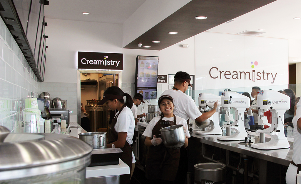 """Creamistry employees work hard to keep customers coming back for more of their variety of flavors. """"Personally, I love ice cream and making ice cream for our customers brings joy,"""" Xiomara Navarrete, Creamistry employee, said. """"Here at Creamistry, we try everything in our power to satisfy our customers."""""""