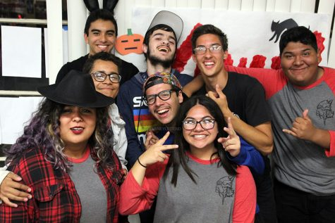 "Downey High School's One Night Only club performs improv skits for YAWP's Art show on Nov. 3rd in the school's library. ""Their performances were a lot better than I expected them to be,"" Anna Aceves, 12, said. ""I couldn't stop laughing and they really work well together."""