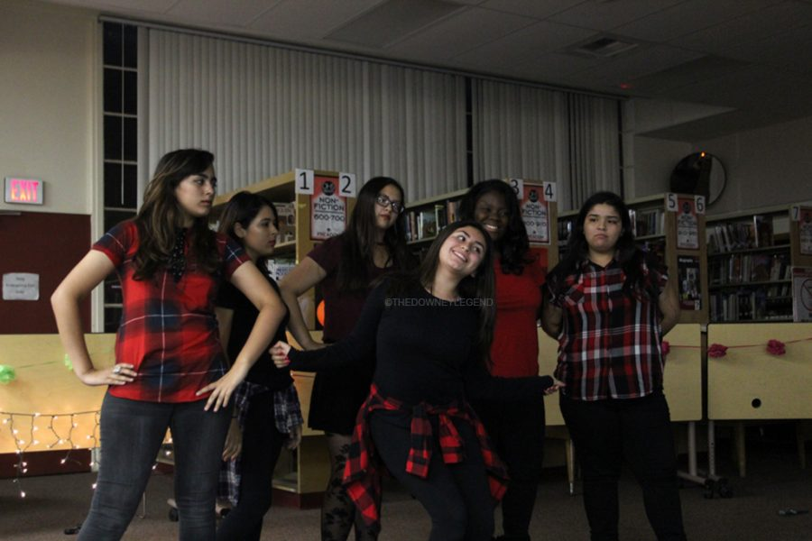 In the spirit of Halloween, district performs a dance routine for YAWP's art show on Nov. 3rd in the school's library.