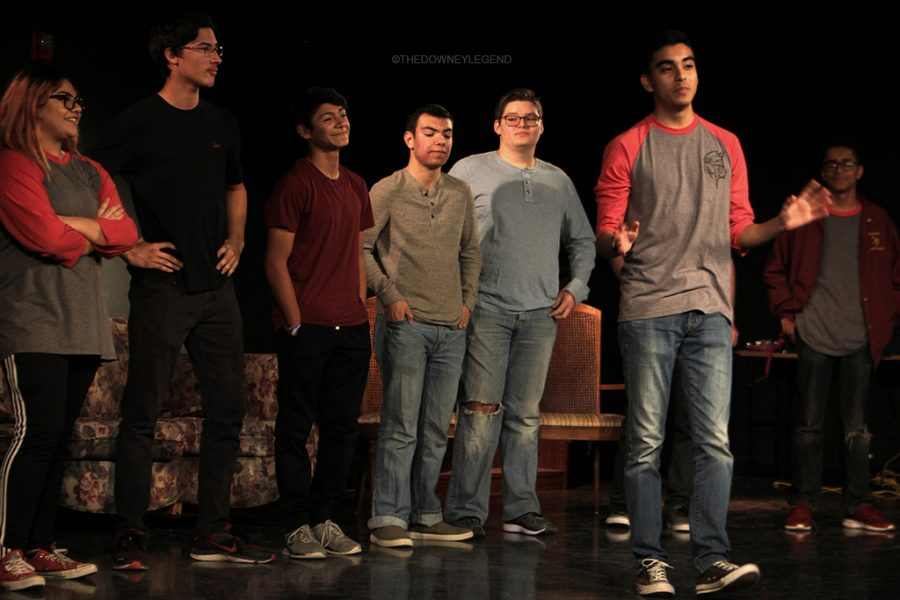 "Throughout the One Night Only improv show on Jan. 12 in the theater, Edward Estrella, 12, performs a variety of skit games showcasing his improvisational skills. ""First we plan who is gonna be in the show and what types of shows we will perform,"" Estrella said. ""Then, before the show starts we run quick warm ups to get us in the spirit."""