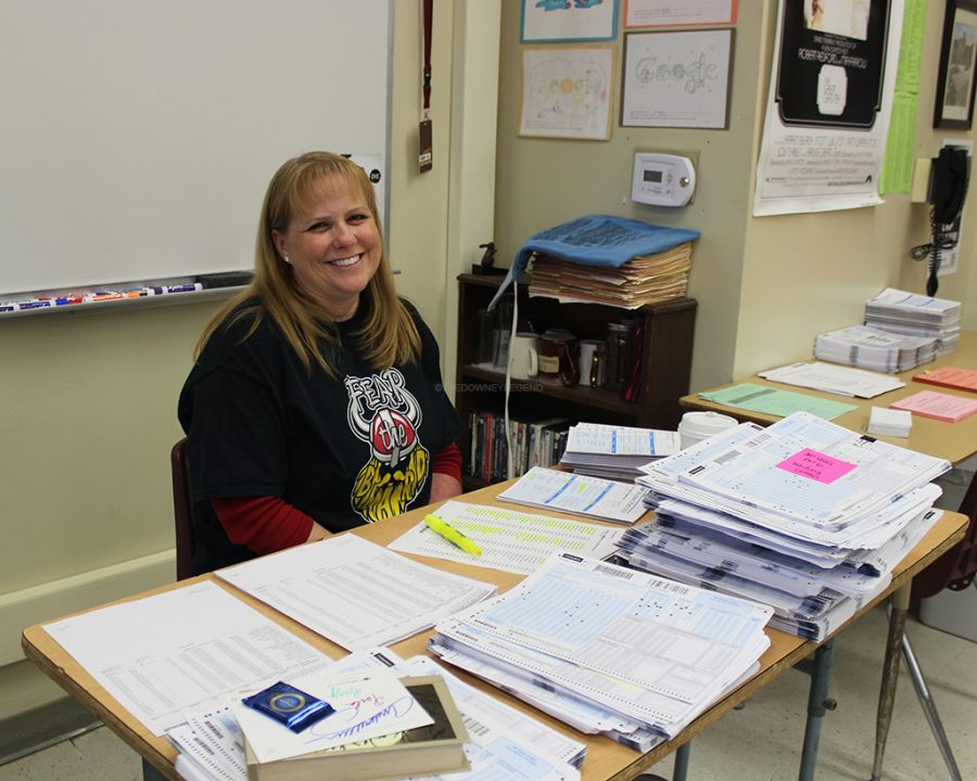 "Passionate about her work and students, Mrs. Carlson, is named the Teacher of The Year on April 9. ""I enjoy interacting with students,"" Carlson said, ""and watching them begin to see things differently."""