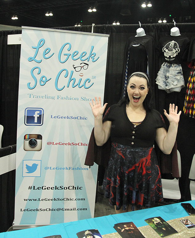 "Promoting her geek couture fashion line, Le Geek So Chic, designer Bernadette Bentley expresses the love and excitement she experiences whenever she sees fans wearing her pieces.  ""It's really fun to get geek fashion out there and the latest and greatest in geek couture,"" Bentley stated.  ""Everything from everyday funky, geeky t-shirts to high end corset-inspired costumes."""