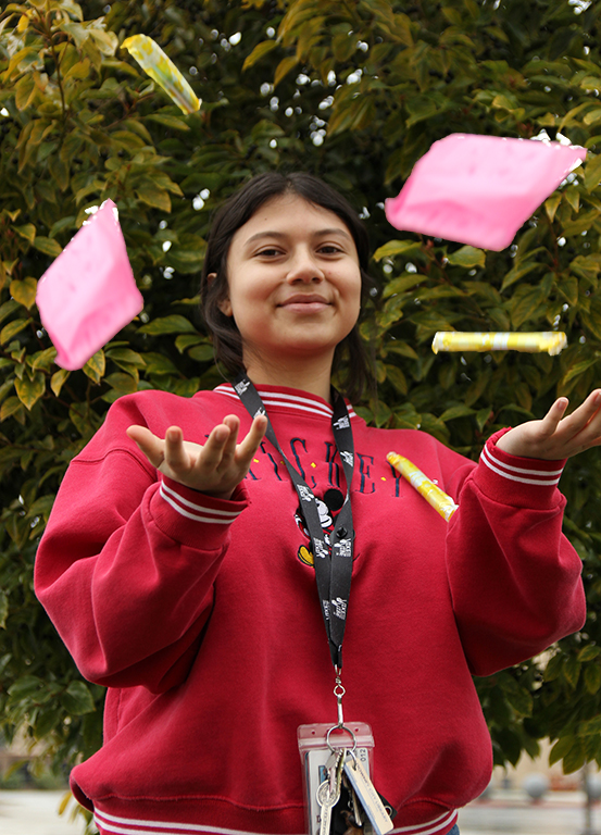"""Passionate about making a change in the community, Monserrat Medina,12, leads the DHS organization called Power 4 Periods in hopes of making a difference and normalizing  menstruation. """"One of the goals for P4P is to help normalize menstruation,"""" Medina said. """"Menstruation is normal, it's a natural thing for women that provides us with the ability to reproduce and it's actually an amazing thing! Typically, it's viewed as nasty or gross but its not. Without it, none of us would be here so I just hope more people join on the path to normalize menstruation."""""""