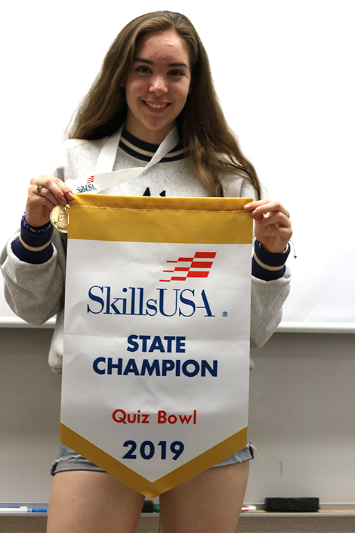 """Senior Alyssa Nevarez has been a part of quiz bowl since her junior year and this is her first time winning the gold.  """"I joined Quizbowl my junior year and I was pretty uspet that we did not take home the gold,"""" Nevarez said.  """"I'm over the moon that we won this year because I am a senior."""""""
