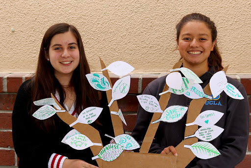 """Working hard to get the school involved in Eco Club, Marie Olmedo ,11, (right) works alongside her fellow club members to get the school involved with their ecosystem. """"We asked students to write down something positive they were going to do for the ecosystem,"""" Olmedo said. """" It was a lot harder than we thought but our tree slowly but surely got filled by the end of the day."""""""