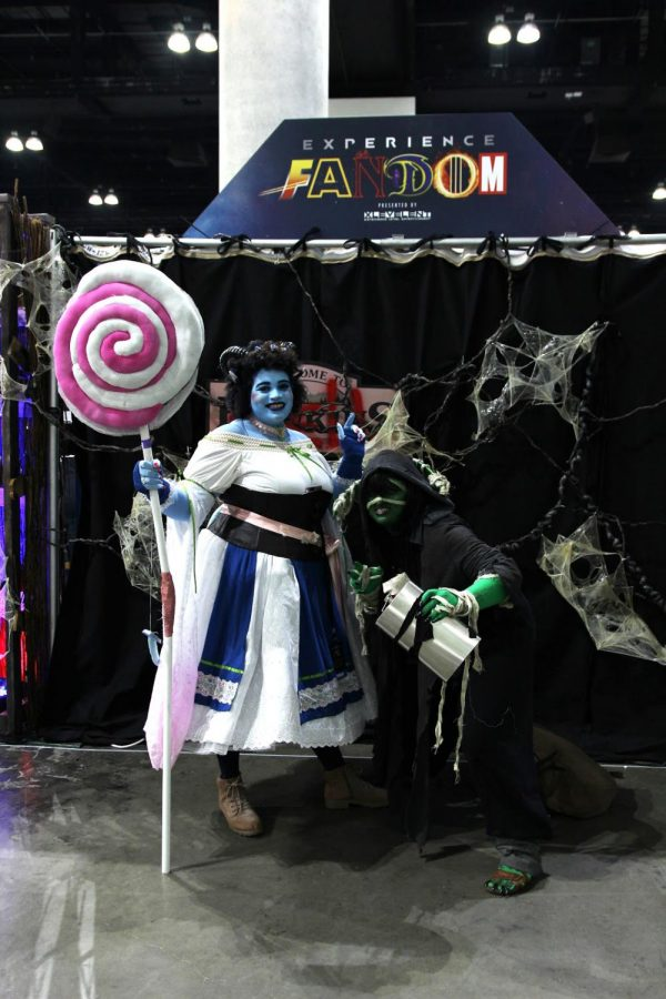 """Los Angeles Comic-Con invites cosplayers to become a different person for a day, which is why Bobby Princet (left) cosplayed as her role model, Jester Lavorre from Critical Role, on October 12th. """"This character, Jester, just makes me really happy and inspired,"""" Princet said. """"She's a super cute tiefling [fictional humanoid race]."""""""