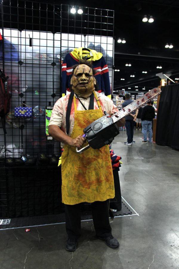 """Cosplaying as the murderer from his favorite horror film, Texas Chainsaw, David Gutierrez, cosplays as Leatherface. """"I've always loved that you can be someone else and people won't judge you."""" Gutierrez continues, """"Out of the costume I'm very quiet and shy and when I have it on it's like I'm a different person. You can be someone else."""""""