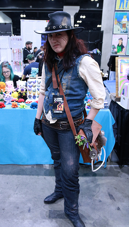"Cosplaying and being a vendor are usually kept separate at conventions like Comic-Con but Michelle Prebich shows a love for both, dressed as John Marston, from the video game franchise Red Dead Redemption. ""I really loved John Marston in the first game and thought his arc in the second game was just so satisfying."" Prebich said. ""So other than a love for the character, I thought it would be a fun challenge to put together a western victorian outfit."""