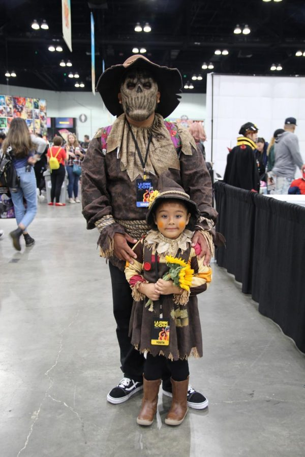 Several Comis-Con attendees can be found pairing cosplays. This father and daughter were found matching as the scarecrow and mini scarecrow.