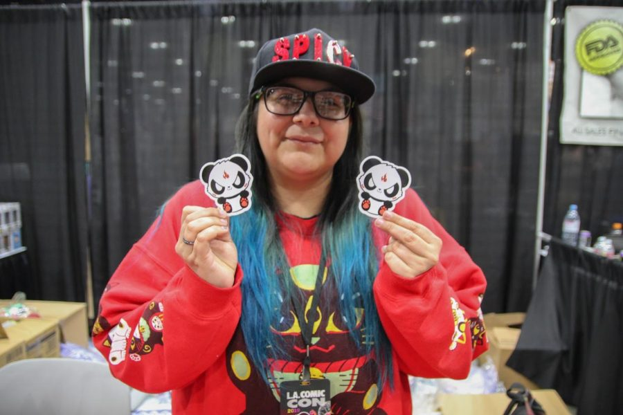"""Loving what she does, self-taught artist, Linn Rangel, founder of 'Spicy Panda Stickers', is excited to set up her booth for LA Comic-Con 2019. """"Long story short, my back is broken and so I've always wanted to become an artist, but I can't carry my art with a broken back,"""" Rangel said. """"So then that's when I thought of stickers! I can put my art on stickers, and that's basically how this all started."""""""