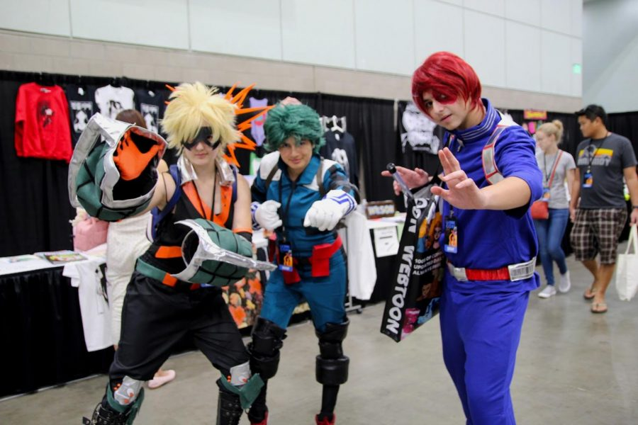 """Inspired by the popular anime, My Hero Academia, Sofia Pacade, Noemi Ramirez, and John Mann all got together to cosplay as the three main characters. """"Sophia and I absolutely love the anime and knew we had to dress up as Deku, Bakugo, and Todoroki,"""" Ramirez (middle) said. """"John has actually never watched it, but still agreed to do the cosplay with us."""""""