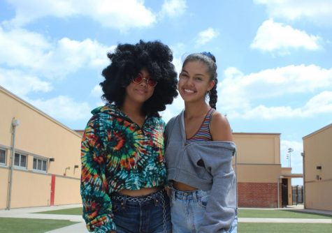 "Due to it being her last year at Downey High School, Nalani Rodriguez, 12, and her little sister Brianna Rodriguez, 11, dressed up as different decades for the second to last day of spirit week. ""I really wanted to go big for this week,"" Rodriguez (left) stated. ""Dressing up 70s disco era was something I was so excited to do, I had been planning this fit for so long."""