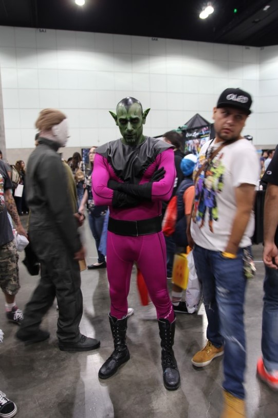 """Absolutely in love with the cosplay world, Eli Robinsin, cosplaying Skrull from Marvel comics, has been cosplaying for three years. """" I've done many characters, Skrull, in particular, took me an hour,"""" Eli states, """"I love it, if I could do this every weekend, I would do it every weekend."""""""