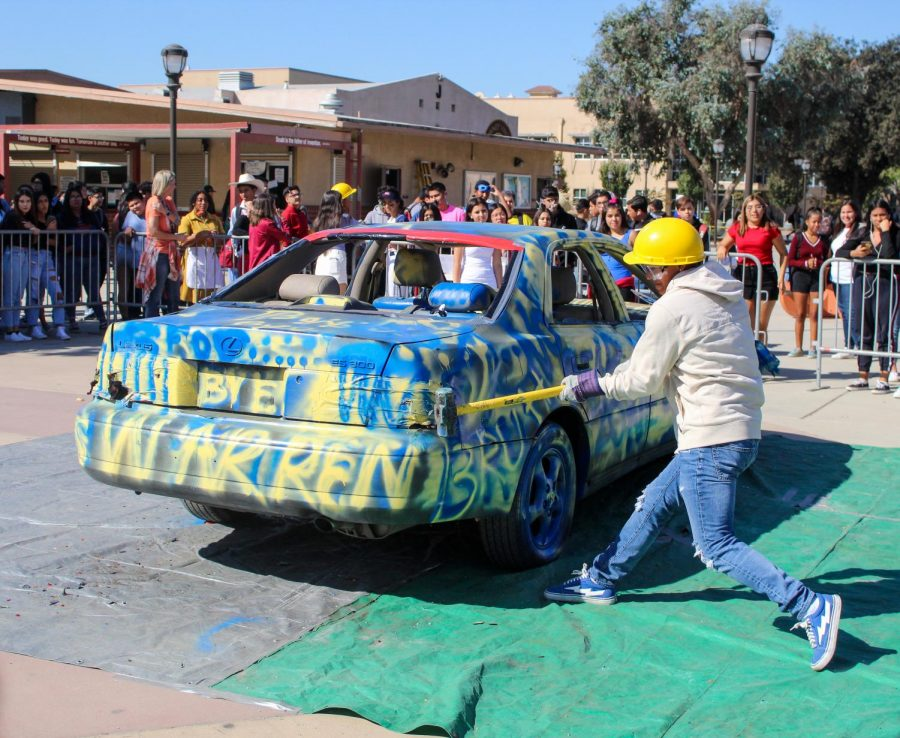 During both lunches, on October 31, 2019, Downey High School had their annual car smash where they allow students to hit a Warren decorated car with a sledgehammer. DHS does this every year to hype everyone up before the Downey vs Warren football game the following day.