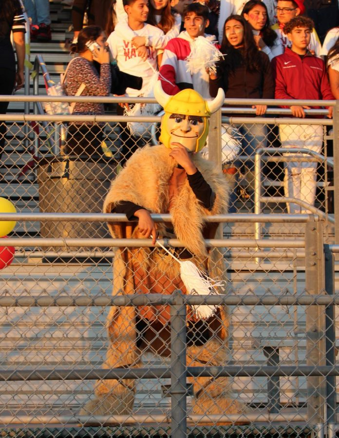 Many students spotted Downey High's Viking mascot wandering around the Downey Vs. Warren game on Nov. 1. Downeys Viking ensured Viking Nation was energized and having fun during the game.
