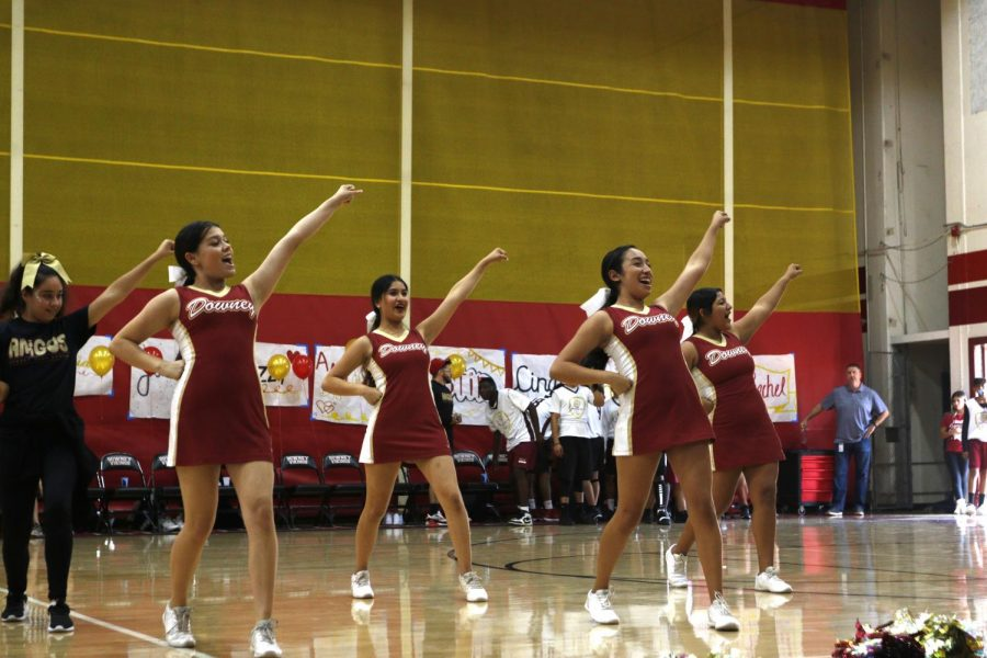"""Downey High's Cheer team joins together in rooting for the basketball team as they play their first Special Olympics game in Downey. Senior, Sierra Sepulveda, shares her experience working with other girls from the SPED program and how she was affected by it. """"The whole team was so thrilled to be working with the girls in the event, it was the cutest thing ever,"""" Sepulveda stated. """"It was a little hard to teach everyone at first but seeing the smiles on their faces after learning the cheers really warmed my heart."""""""