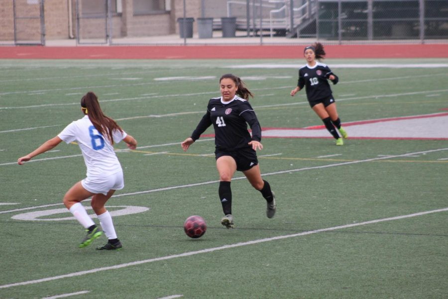 "With this being her fourth and final year competing at Downey High, Alexis Macias, senior, is ready to give it her all. ""I felt that our performance was really well considering it's a brand new team. We performed to the best of our ability and will continue to do so,"" Macias said. ""I love playing and high school soccer was probably the best experience for me. I'm gonna miss it, but I know I'm moving on to better things."""