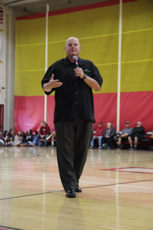 """The Commissioner of the CIF Southern Section, Rob Wigod, came to Downey High School to talk to the 1,300+ student-athletes about """"Pursuing Victory with Honor"""" on February 13. """"I came to talk to all student-athletes to make them aware of the strong impact you [they] have on any younger/upcoming student-athletes,"""" Wigod said. """"If a child comes to your game and sees the determination and persistence in your performance, what do you think that child will do? They would want to be like you one day."""""""
