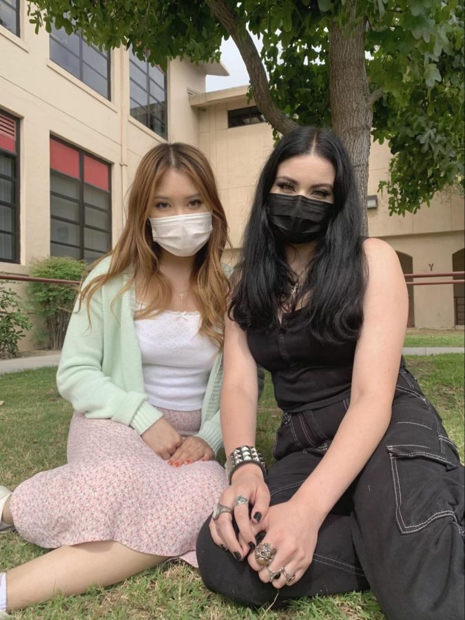 """Known for their staple """"opposites attract"""" outfits, Naomi Baguyo, 12, and Isabella Ramirez, 12, display bold looks within the walls of Downey High School.   """"I don't try to make a specific statement with my clothes, I just like wearing things that make me feel confident and happy,"""" Ramirez stated.   """"I think every so often people are afraid to take on a hyperfeminine approach to fashion, worrying it would be seen as too brash,"""" Baguyo stated."""